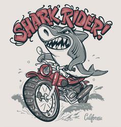 Shark rider on motorcycle t-shirt design vector