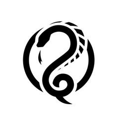 snake dragon round logo symbol vector image