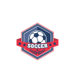 Soccer ball shield badge of football sport game vector