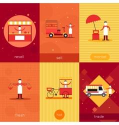 Street food mini poster set vector image