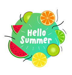 summer juicy fruits background design vector image
