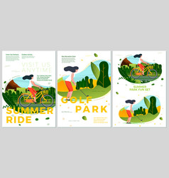 summer typographic set bike ride and golf vector image