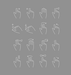 touch screen gestures hands signs touch mobile vector image