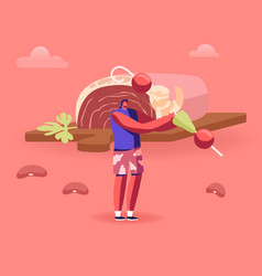 traditional brazilian cuisine concept man holding vector image