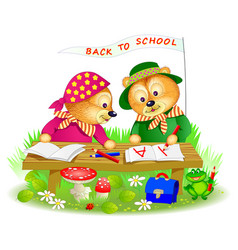 Two little bears learning to read and to write vector