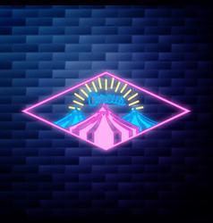 Vintage circus emblem glowing neon vector