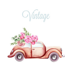 Vintage pink car with rose flowers and green vector