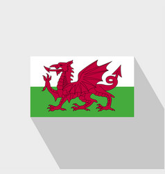 Wales flag long shadow design vector