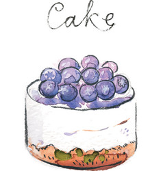watercolor cake vector image