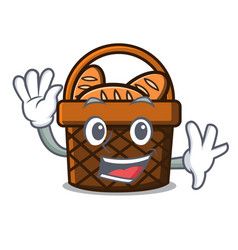Waving bread basket character cartoon vector