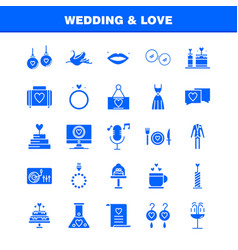 Wedding and love solid glyph icons set for vector