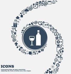 Wine Icon in the center Around the many beautiful vector