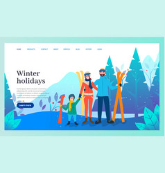 Winter holidays family skiing in vacation website vector