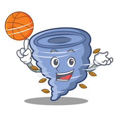 With basketball tornado character cartoon style vector