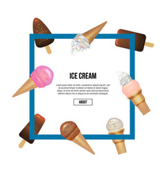 yummy ice cream in waffles cone square composition vector image