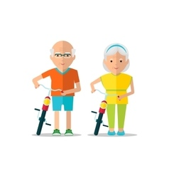 elderly couple walk with bicycles vector image vector image