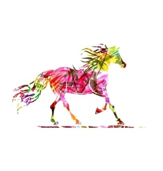 Horse sketch with floral ornament for your design vector image vector image