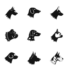 Pet dog icons set simple style vector image vector image