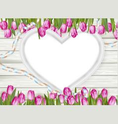 Wooden heart shape frame EPS 10 vector image vector image