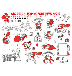 big cute set sketch of santa vector image vector image