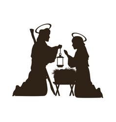 black silhouette nativity scene catholic vector image vector image