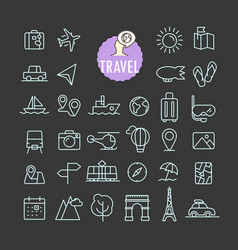 different travel icons collection web and mobile vector image vector image