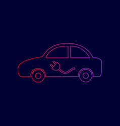 electric car sign line icon with gradient vector image