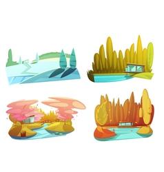 Nature seasons 4 icons set retro vector