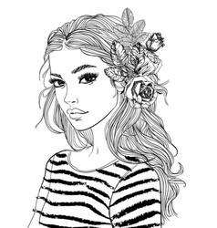 portrait of a young woman with flowers vector image vector image