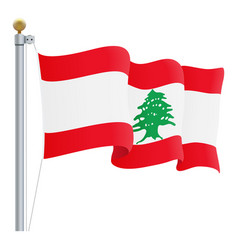 waving lebanon flag isolated on a white background vector image vector image