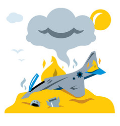 Fighter crash flat style colorful cartoon vector