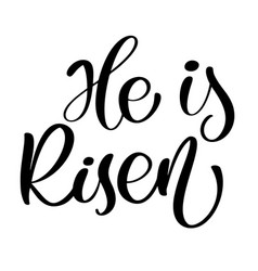 he is risen text christian hand lettering vector image