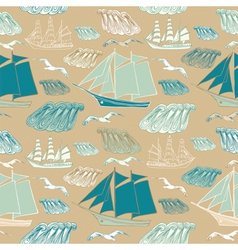 seamless pattern with sea and ships vector image vector image