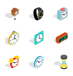 time and clock icons isometric 3d style vector image