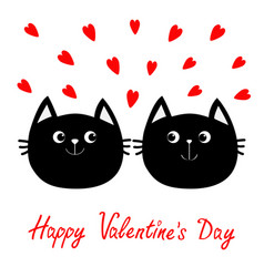 Two black cat head couple family icon red heart vector