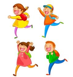 Happy school kids vector