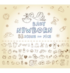 Newborn Icon set vector image vector image