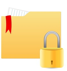 Security concept with file folder and padlock vector image