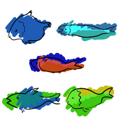 set of colored handdrawn fishes vector image