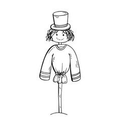 A charming scarecrow with a hat on a stick vector