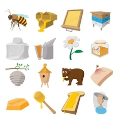 Apiary cartoon icons set vector image