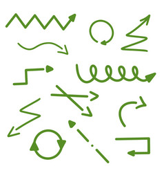 arrows hand drawn green arrow set collection vector image