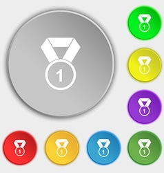 Award medal icon sign Symbol on eight flat buttons vector