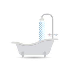 bathtub icon with flowing water bathtub vector image