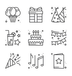 Birthday celebration thin line icons set party vector