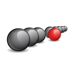 Black balls with one red ball standing ahead the vector