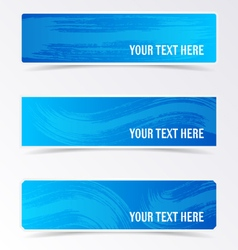 Blue banners with brush strokes vector image vector image