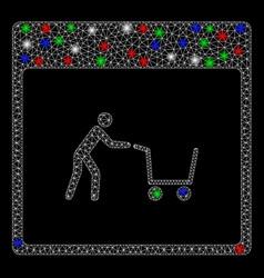 Bright mesh carcass shopping cart calendar page vector