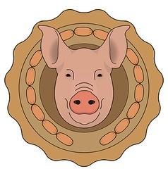 Butchery logo pig head with wieners color vector