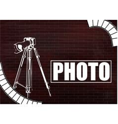 Camera and photos on a brick wall vector